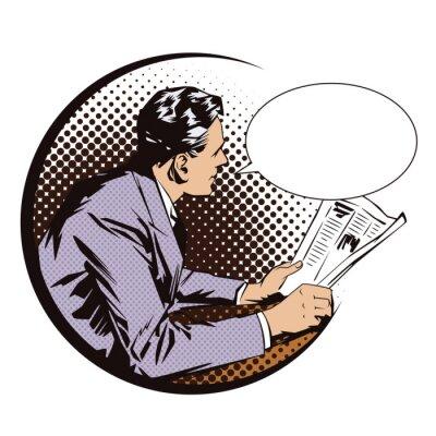Póster Ilustración vectorial. Gente en arte pop retro del estilo y publicidad del vintage. Hombres con el periódico. Burbuja de diálogo.