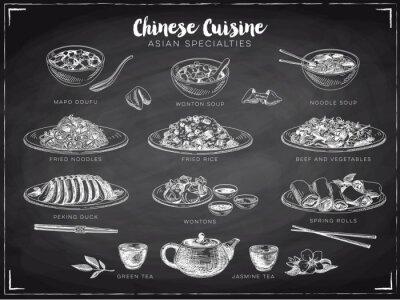 Póster Ilustración vectorial mano dibujado con comida china.