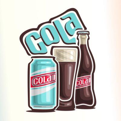 Póster Ilustración vectorial sobre el tema del logotipo de cola, que consta de lata con cola, taza de vidrio lleno de cola y botella de vidrio cerrado de cola