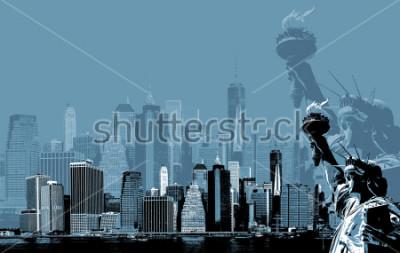 Póster Imagen abstracta de manhattan. Símbolos de nueva york. El horizonte de Manhattan y el horizonte de Libertad de Nueva York. Arte contemporáneo y estilo póster en azul.