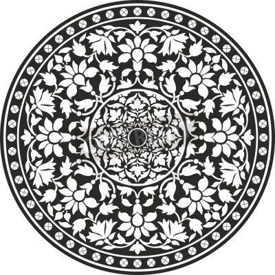 Póster Indian traditional pattern of black and white - flower mandala