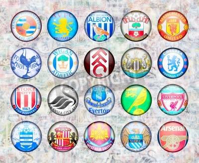 Póster Inglés Premier League Equipos de Fútbol 2012/13
