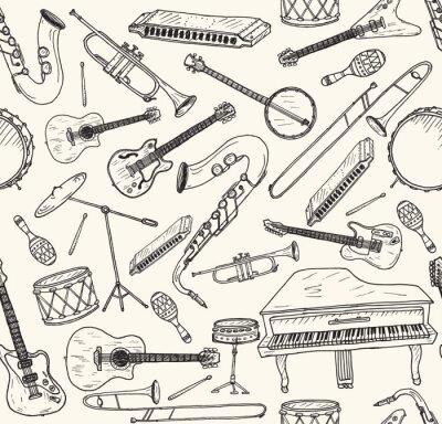 Póster Instrumentos musicales dibujados a mano.