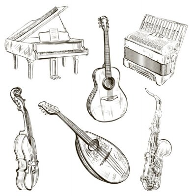 Póster instrumentos musicales en el estilo de dibujo