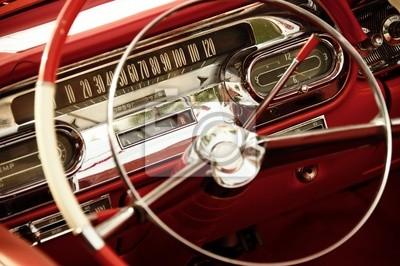 Interior del coche de la vendimia.