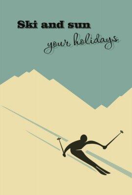 Póster Invierno de fondo. El esquiador resbala de la montaña.