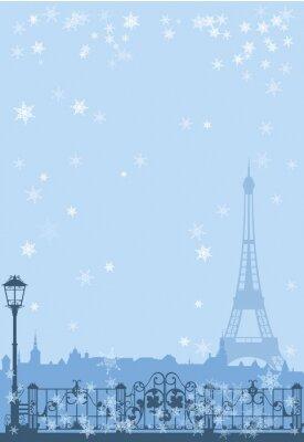 Póster invierno París fondo