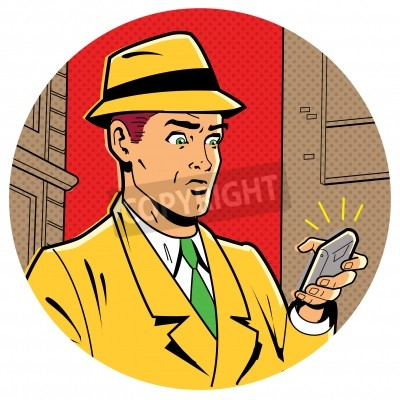 Póster Ironic Satirical Illustration of a Retro Classic Comics Man With a Fedora and a Modern Smartphone