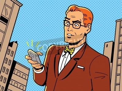 Póster Irónico Ilustración de un 1940 o 1950 retro hombre con gafas, pajarita y Smartphone Moderno