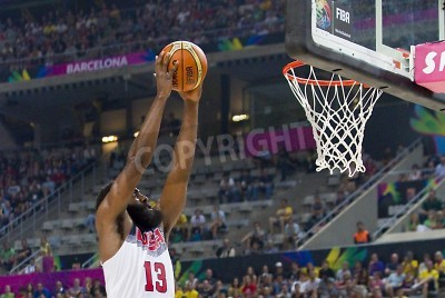 Póster James Harden of USA in action at FIBA World Cup basketball match between USA Team and Lithuania, final score 96-68, on September 11, 2014, in Barcelona, Spain