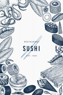 Póster Japanese cuisine banner template. Sushi hand drawn vector illustrations. Retro style asian food background.
