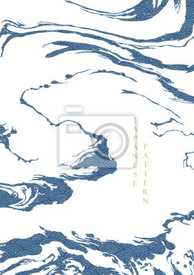 Póster Japanese wave pattern with abstract shape vector. Blue ocean background with grunge texture. Wave hand drawn elements.