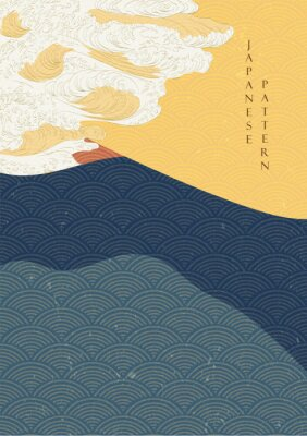 Póster Japanese wave template with Geometric pattern vector.