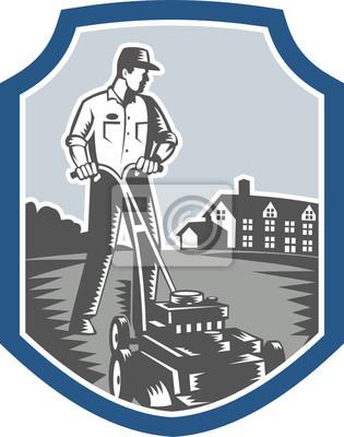 Jardinero Mow Segadora Xilografía Shield