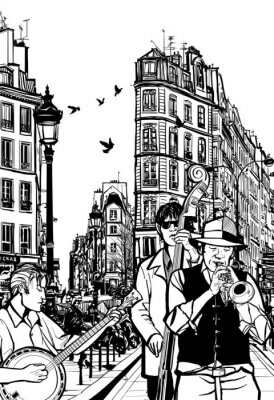 Póster Jazz band in a street of Paris