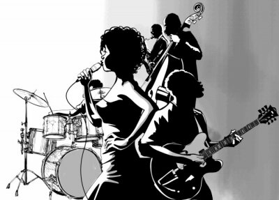 Póster Jazz singer with guitar saxophone and double-bass player