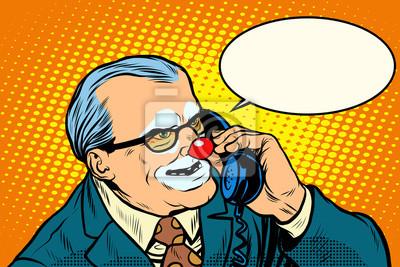 Jefe de payaso en el teléfono