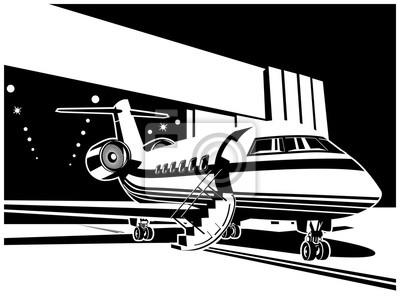 Jet aircraft near the hangar