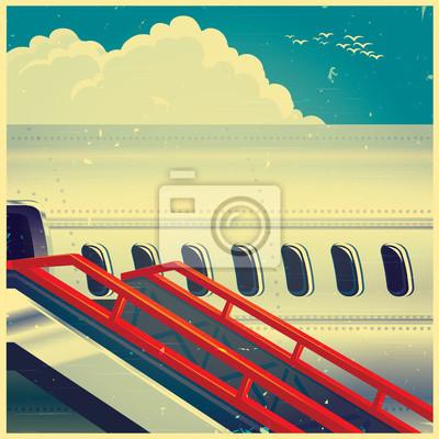Jet avión en retro poster