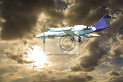 Jet privado en un hermoso cielo