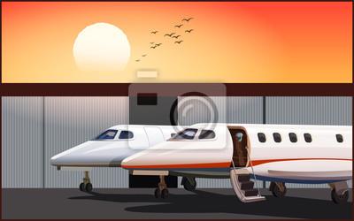 Jets de negocios de lujo al atardecer