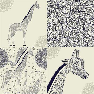 Póster Jirafa adulta hermosa. Dibujado a mano Ilustración de la jirafa ornamental. Aislado jirafa sobre fondo blanco. Patrón sin fisuras de una jirafa ornamental