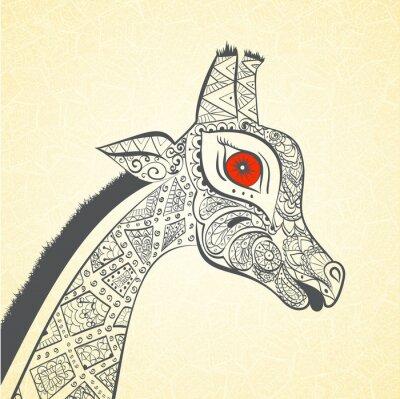 Póster Jirafa adulta hermosa. Dibujado a mano Ilustración de la jirafa ornamental. Jirafa de color sobre fondo ornamental.