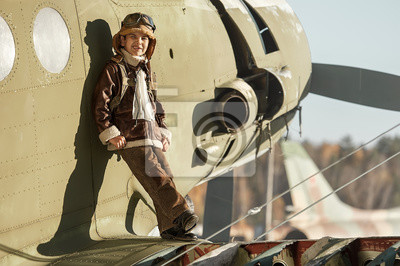 Joven, aviador, ala, grande, avión