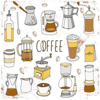 Póster Juego de café. Colección dibujada a mano
