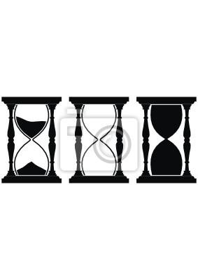 Juego De Reloj De Arena Aislada Negro Sobre Fondo Blanco Carteles