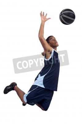 Póster Jugador de baloncesto aislado en blanco