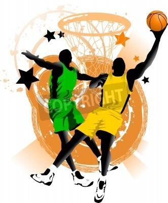 Póster jugador de baloncesto en el fondo de aros de baloncesto (vector);