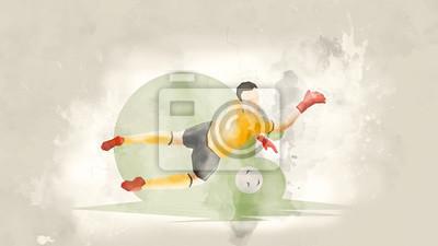 Póster Jugador de fútbol abstracto creativo. El portero de fútbol atrapa la pelota. Fondo de acuarela. Estilo retro
