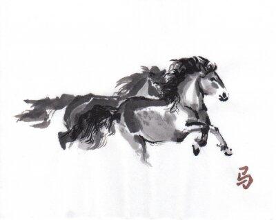 Póster Jugar pintura oriental de la tinta de los caballos con el jeroglífico chino