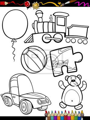 Póster Juguetes De Dibujos Animados Para Colorear Objetos