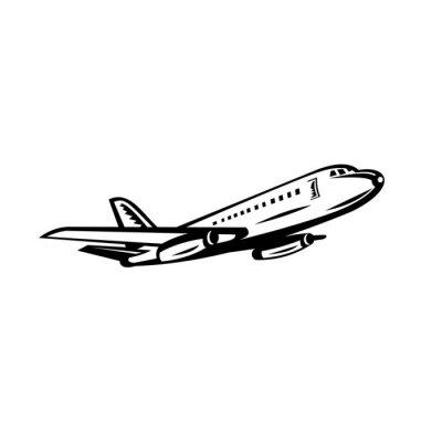 Jumbo Passenger Jet Airliner Taking Off Side Retro Black and White