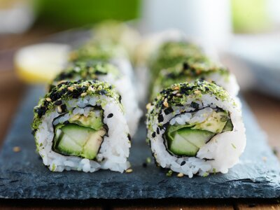 Póster Kale, aguacate y pepino sushi