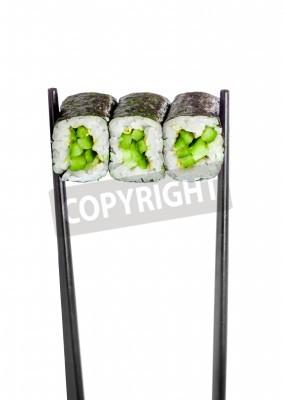 Póster Kappa rollo maki. Sushi Roll en un fondo blanco