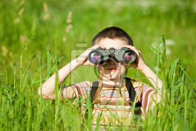 Kid with binocular