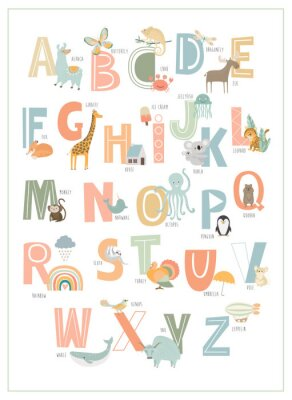 Póster Kids english alphabet, A to Z with cute cartoon animals. Editable vector illustration