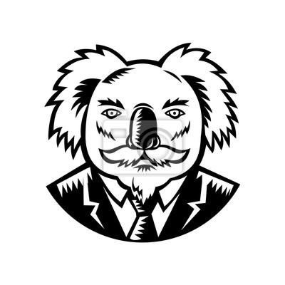 Koala con bigote grabado en madera en blanco y negro