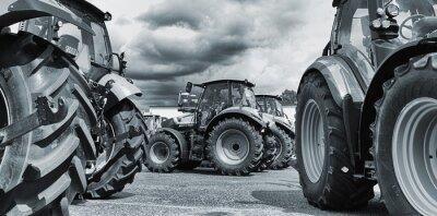 Póster la agricultura de tractores alineaciones, arados y maquinaria