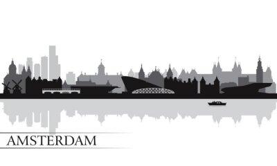 Póster La ciudad de Amsterdam skyline de fondo la silueta