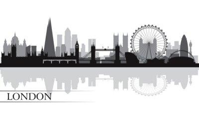 Póster La ciudad de Londres horizonte la silueta de fondo