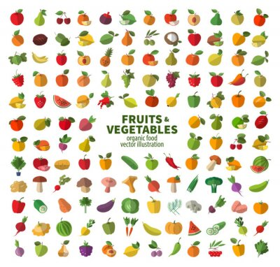 Póster La colección de iconos de frutas y verduras. Los alimentos frescos
