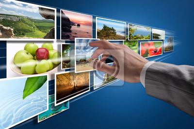 La elección de las imágenes en la pantalla táctil