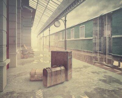 Póster la estación de tren de ferrocarril retro