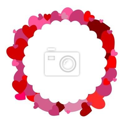 La forma de una flor con los corazones en el fondo