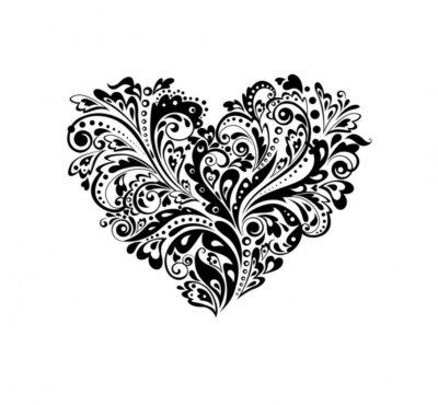 La Forma Del Corazón Decorativo Blanco Y Negro Carteles Para La