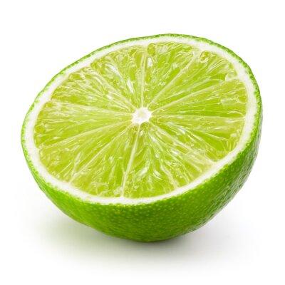Póster La fruta de la cal. La mitad aislados sobre fondo blanco